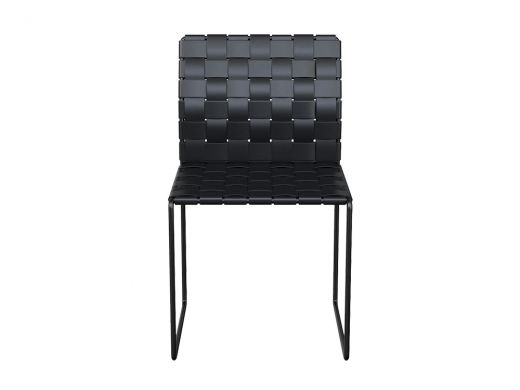 Woven Leather Side Chair Black