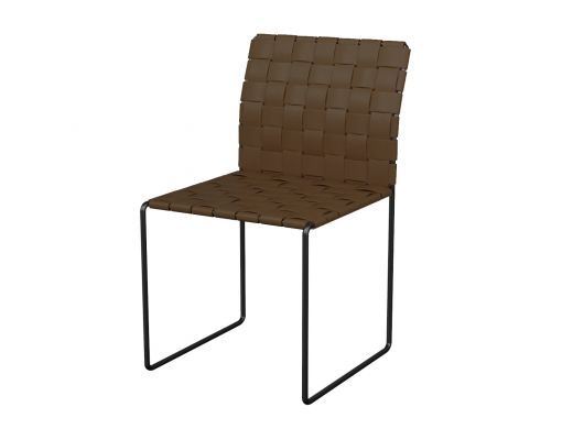 Woven Leather Side Chair Brown