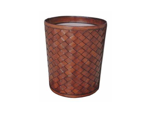 Woven Leather Paper Bin