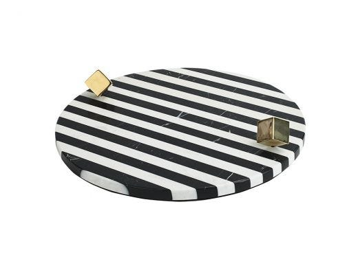 Contrast Stripes Marble Tray
