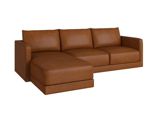 Basel Chaise Left Arm, Old Saddle Nut Leather