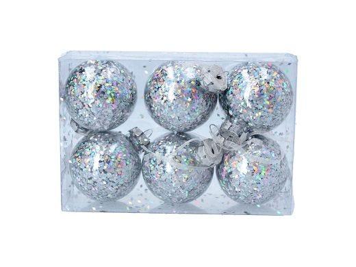 Hologram Silver Ball, Set of 6