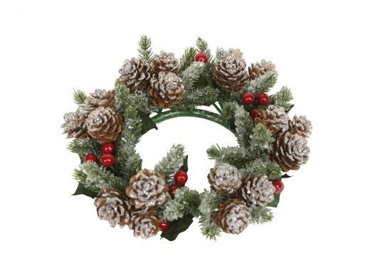Snowy Fir Candle Ring, Large