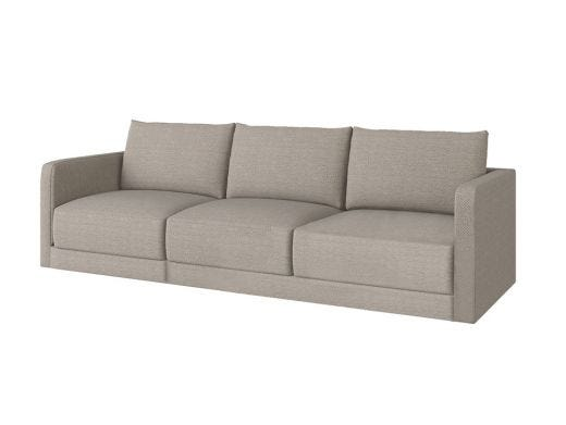 Basel 1 Seat Left Arm, Alcott Ivory Woven Fabric