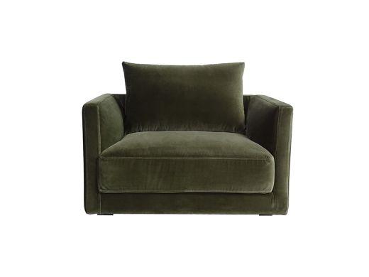 Basel Armchair, Olive Green Velvet