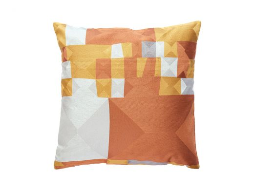 Ochre Blocky Cushion Cover, 50x50cm
