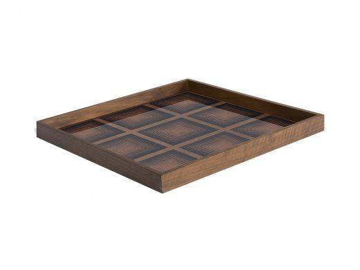 Ink Squares Glass Tray Large