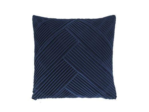 Navy Blue Pleated Velvet Cushion Cover, 50x50cm