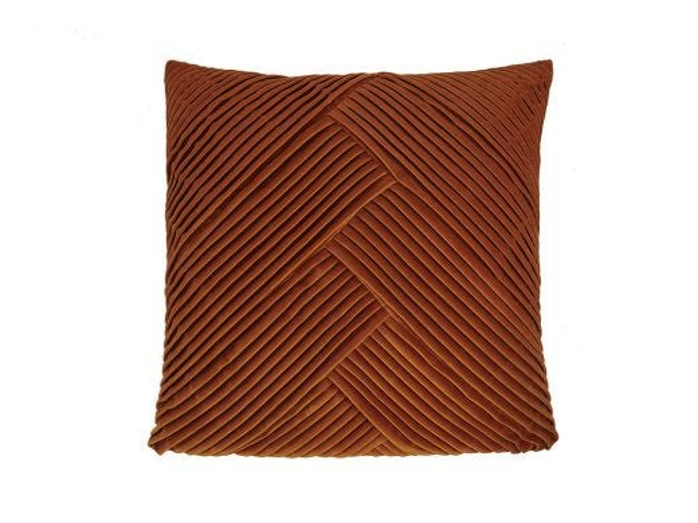 Rust Pleated Velvet Cushion Cover, 50x50cm