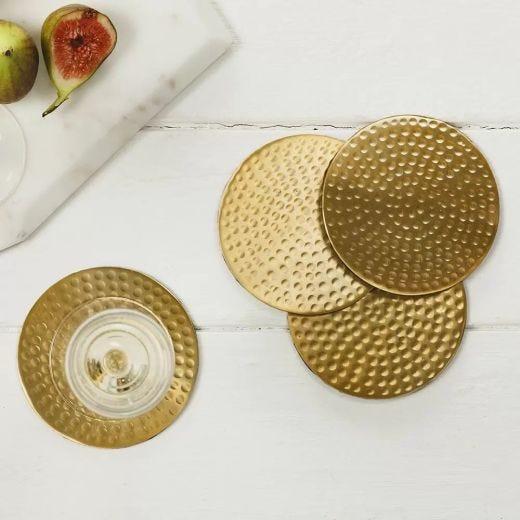 Gold Hammered Coaster Set/4