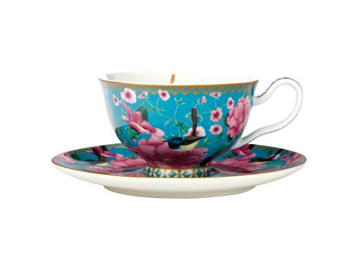 Silk Road Teacup & Saucer Aqua