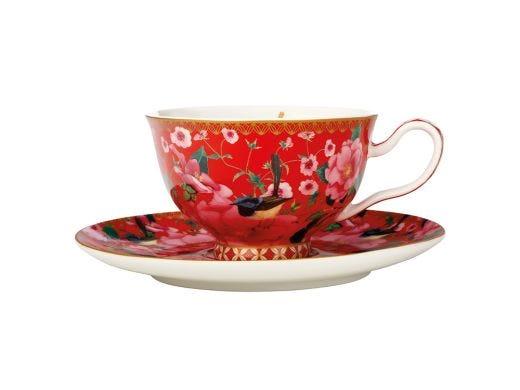 Silk Road Teacup & Saucer Red