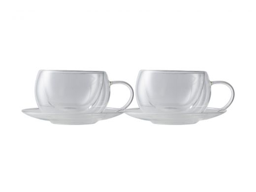 Double Wall Cup & Saucer 270ML Set of 2