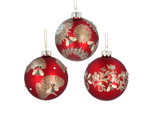 Gold Leaves & Bee Red Bauble Assorted