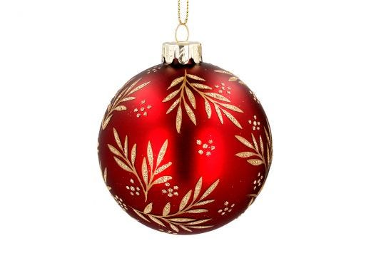 Gold Leaves Red Bauble