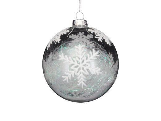 Irid Tinsel Snowflake Clear Bauble