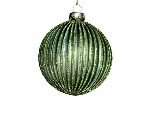 Glitter Ribbed Green Bauble