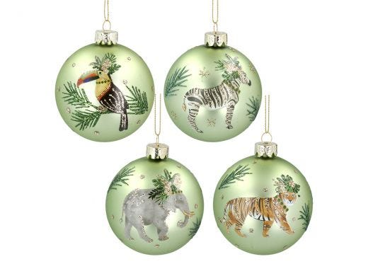 Jungle Animals Green Bauble Assorted