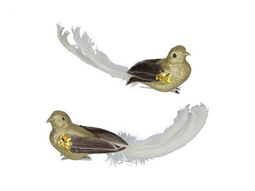 Cream Feather Gold Bird Clip Assorted