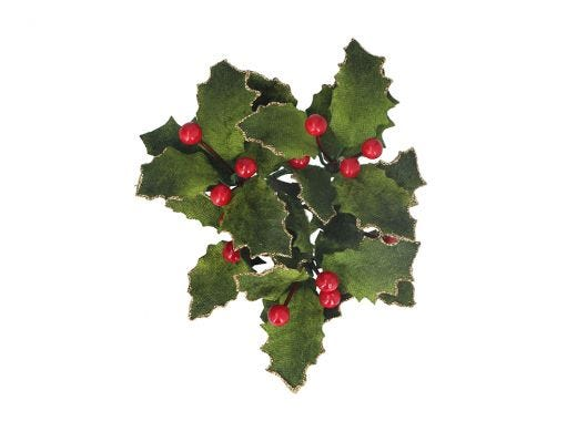 Velvet Holly & Berry Candle Ring Small