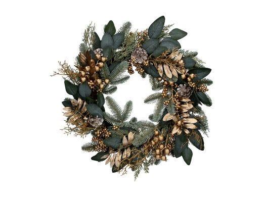 Gold Leaves & Berries Wreath 60cm
