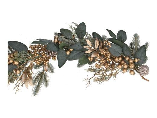 Gold Leaves & Berries Garland 180cm