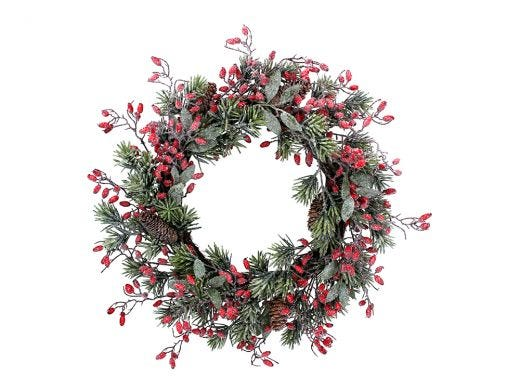 Frosted Fir with Rosehips Wreath 55cm