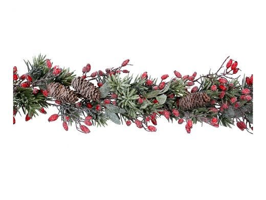 Frosted Fir with Rosehips Garland 190cm