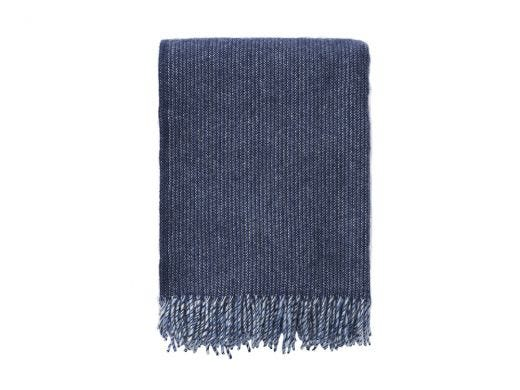 Shimmer Eco Lambs Wool Throw, Storm Blue