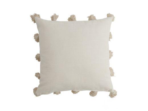 Havana Pompom Cushion Cover, Cream