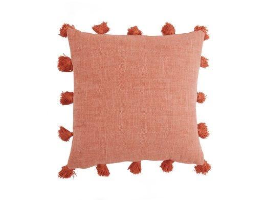 Havana Pompom Cushion Cover, Summer Orange