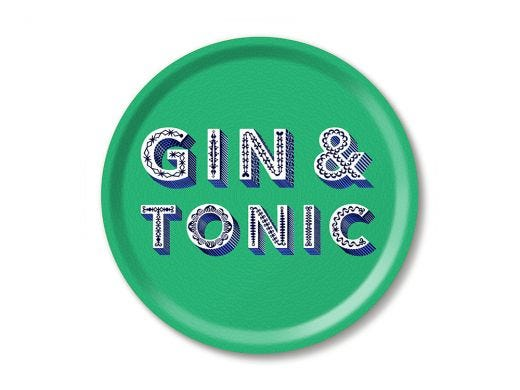 Gin & Tonic Birch Wood Tray