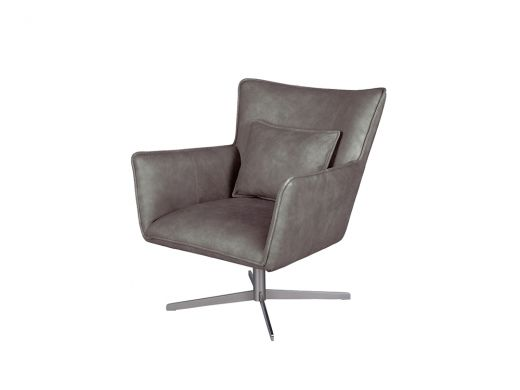 Jacob Swivel Chair, Parrot Grey Leather