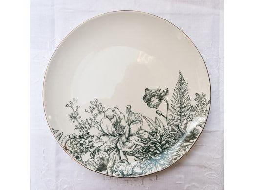 Flora Coupe Dinner Plate 26.5cm, Dark Green