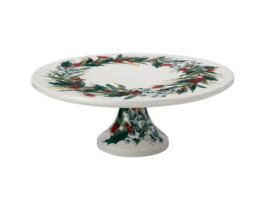 Holly Berry Footed Cake Stand