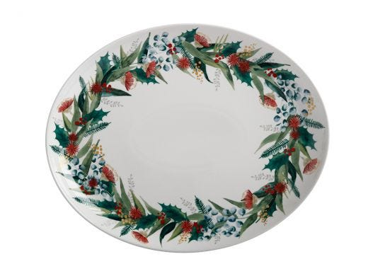 Holly Berry Oval Platter 38x30.5cm