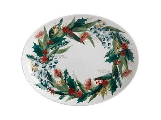 Holly Berry Oval Platter 25x19cm