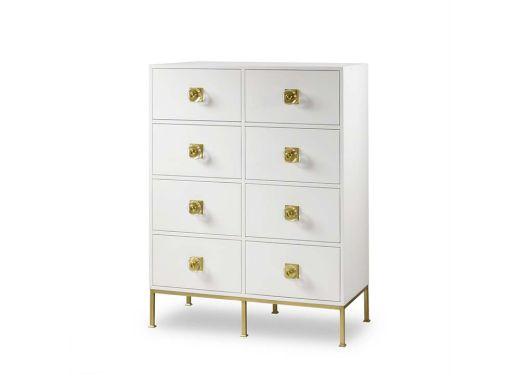 Formal Dresser 8 Drawer, White Lacquer