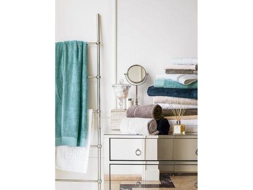 Bamboo Hand Towel With Classic Border, Aqua