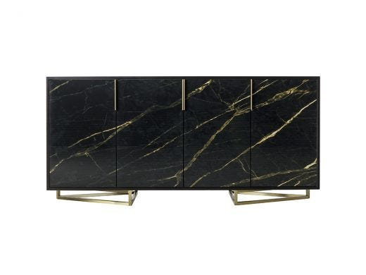 Printed Credenza - Black & Gold Marble / Triangle Base