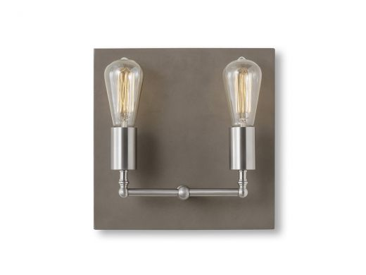 Factory Sconce, Double In Nickel