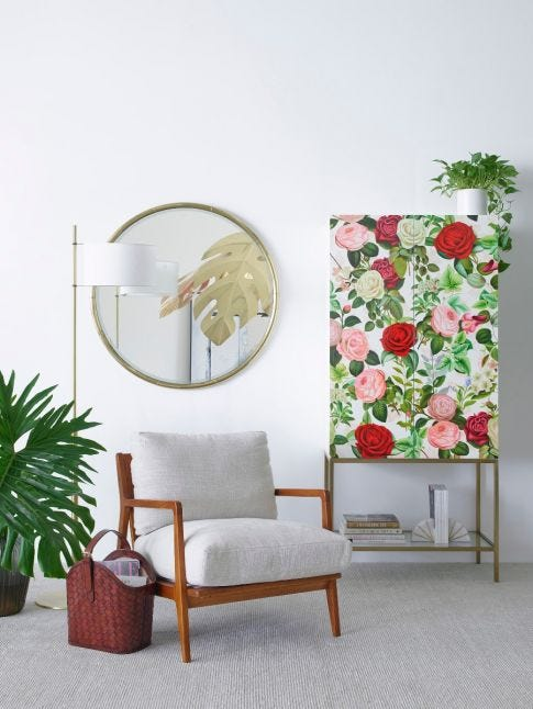 Rose Pattern Cabinet, Hand Painted