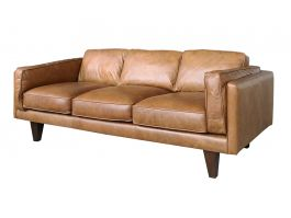 Brooklyn 3 Seat Brown Leather Sofa - view2