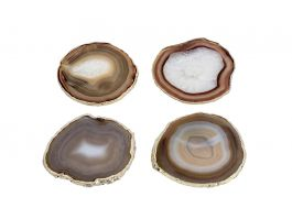 Agate Coasters - Natural &Gold