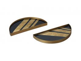 Chevron Half-Moon Tray Set