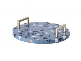 Blue Terrazzo Round Tray - view2