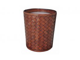 Woven Leather Paper Bin