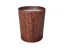 Woven Leather Paper Bin - view2