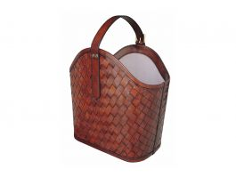 Woven Leather Magazine Tote - view2