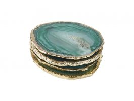Agate Coasters Green & Gold